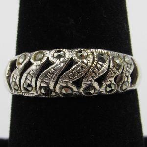 Vintage Size 8 Sterling Marcasite Band Ring